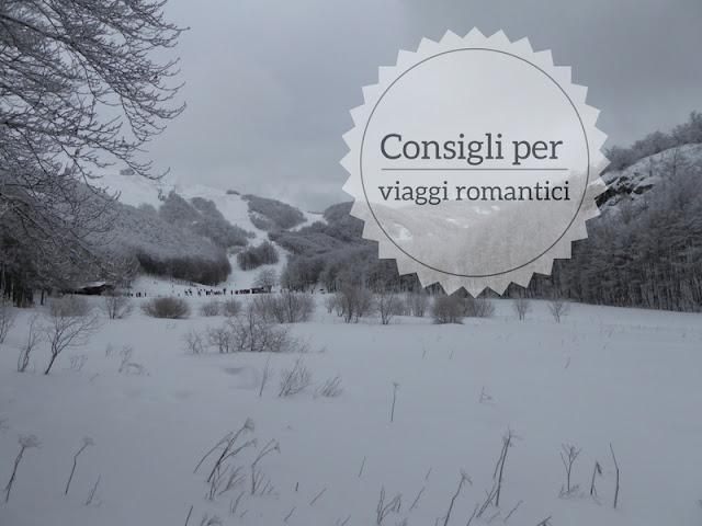 Consigli per viaggi romantici per San Valentino panorama innevato sull'appennino ligure