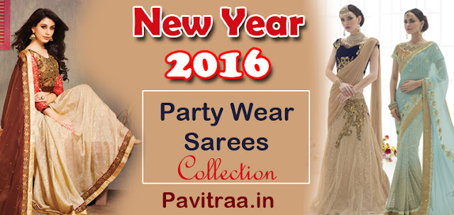 New Year 2016 party wear sarees and net sarees online shopping with discount sale
