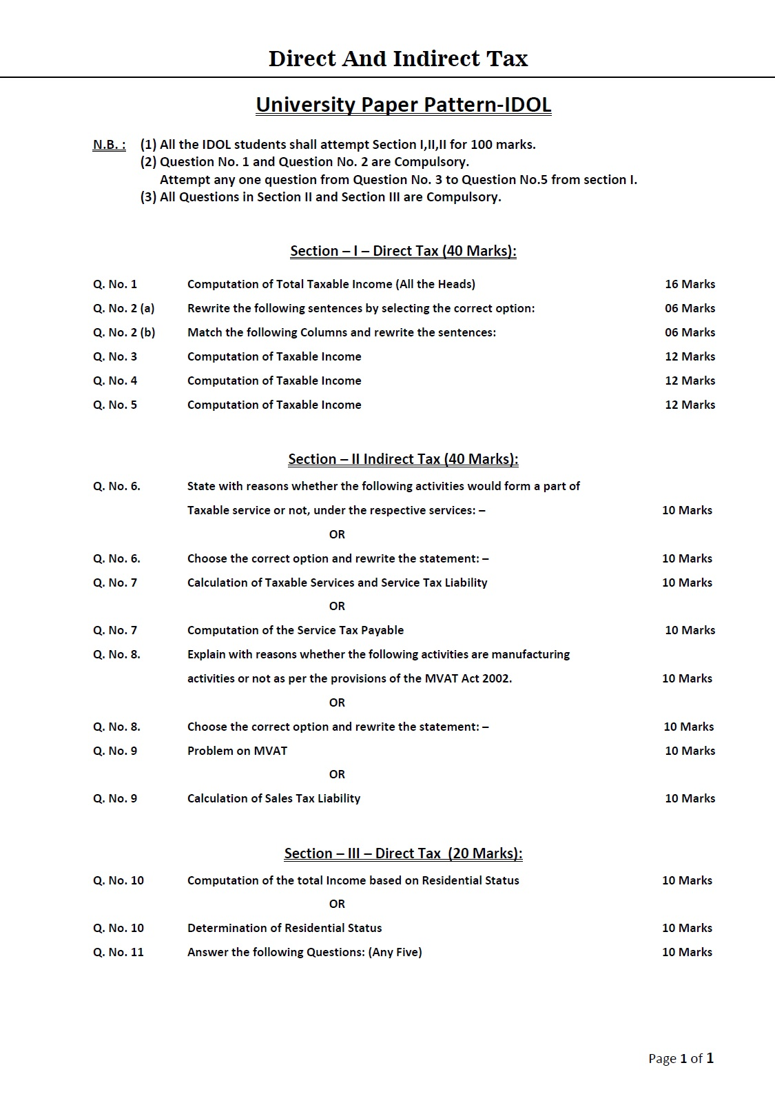 tybcom economics paper pattern 2011