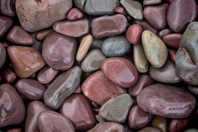 Bossington beach pebbles covered in rain by Martyn Ferry Photography