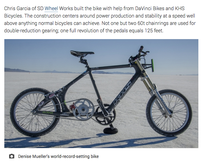 3f03ad59674 The bike is a fixed gear; there is no coasting or shifting for Mueller, who  must be towed up to speed with the gigantic gear.