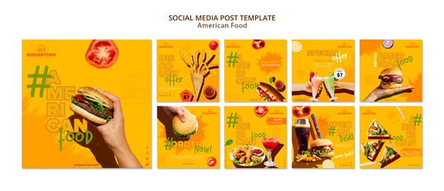 American food social media post Free Psd