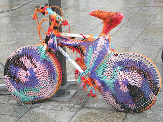 Spotted in the Main Market Square: I've heard of yarn bombing but I'd never seen anything like this crocheted bike. How do you ride it?!