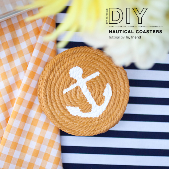 How to make nautical rope coasters with an anchor stencil. Tutorial by hi, friend #diy #nautical #coasters