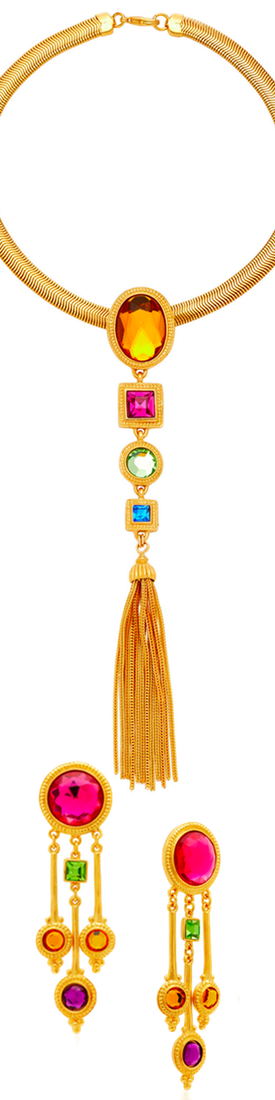 Ben Amun Gold-Plated Crystal Earrings and Tasseled Crystal Necklace(sold separately)
