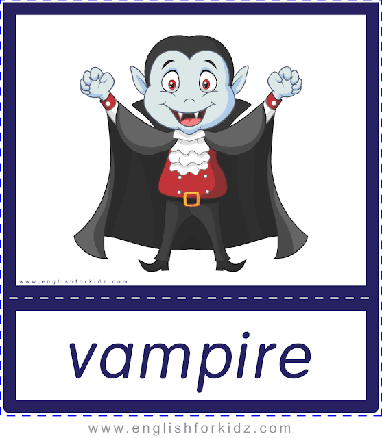 Vampire - Printable Halloween flashcards