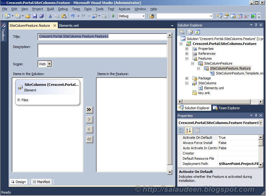 sharepoint 2010 add site column feature