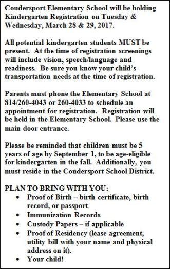 3-28/29 Kindergarten Registration For Coudersport School
