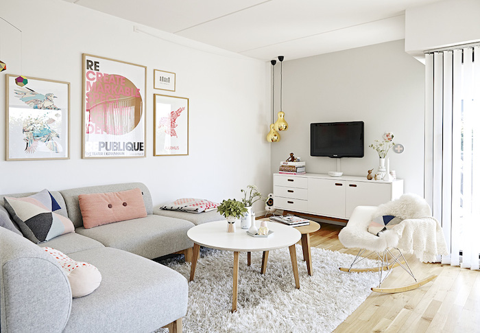 casa nórdica con cables vistos y toques pastel