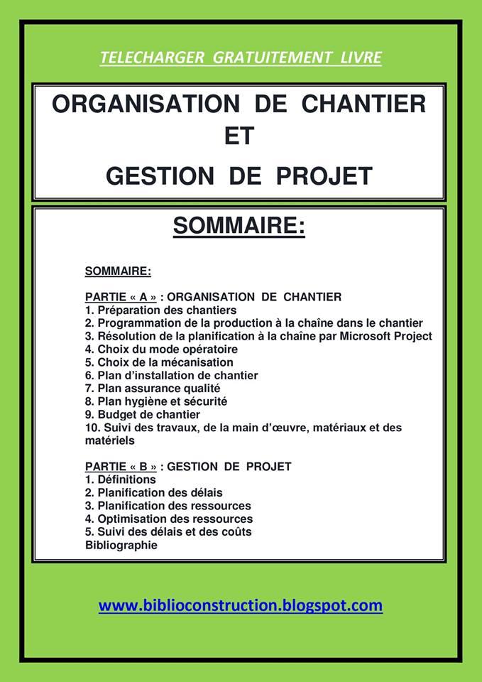 ORGANISATION CHANTIER METHODES DE ET TÉLÉCHARGER GRATUITEMENT PROGICIEL