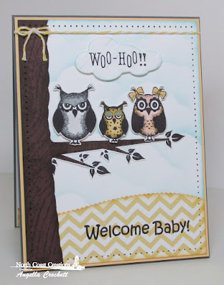 NCC Who Loves You?, NCC Custom Owl Family Dies, ODBD Noah's Ark, ODBD Wood Background, ODBD Custom Clouds and Raindrops Dies, ODBD Custom Leafy Edged Borders Dies, Card Designer Angie Crockett