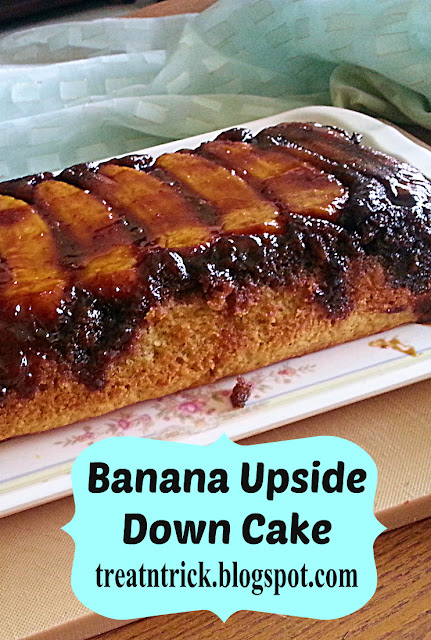 Banana Upside Down Cake Recipe @treatntrick.blogspot.com