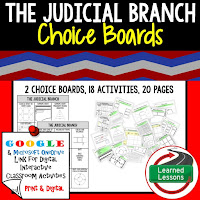 Civics and Government Digital Learning Choice Boards, Google Lessons, Judicial Branch