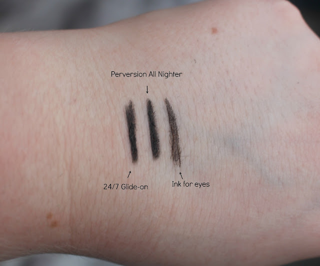 Swatches of the Little Perversions Eyeliners from the Urban Decay Goodie Bag