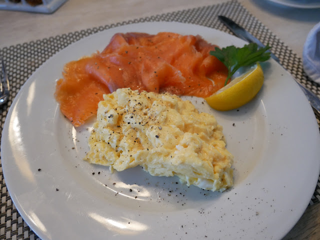 Eggs and smoked salmon breakfast at Swan House B&B, Hastings