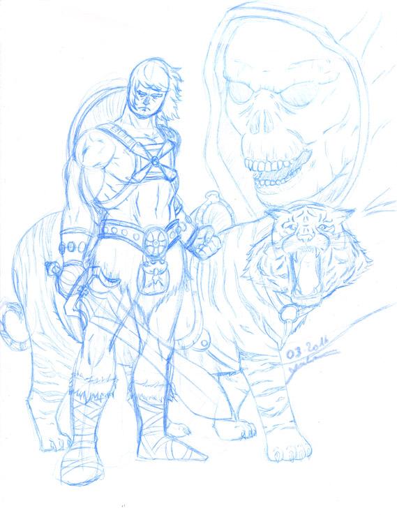 Musclor - crayonné à la mine bleue avec son tigre de combat et Skeletor en fond