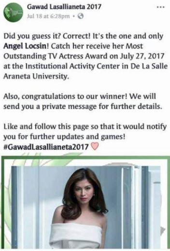 Angel Locsin Was Hailed As The Most Outstanding TV Actress Award In The Gawad Lasallianeta 2017!