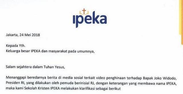 Pihak Sekolah Kristen IPEKA Membantah Video RJ Penghina Jokowi Dibuat di Sekolah