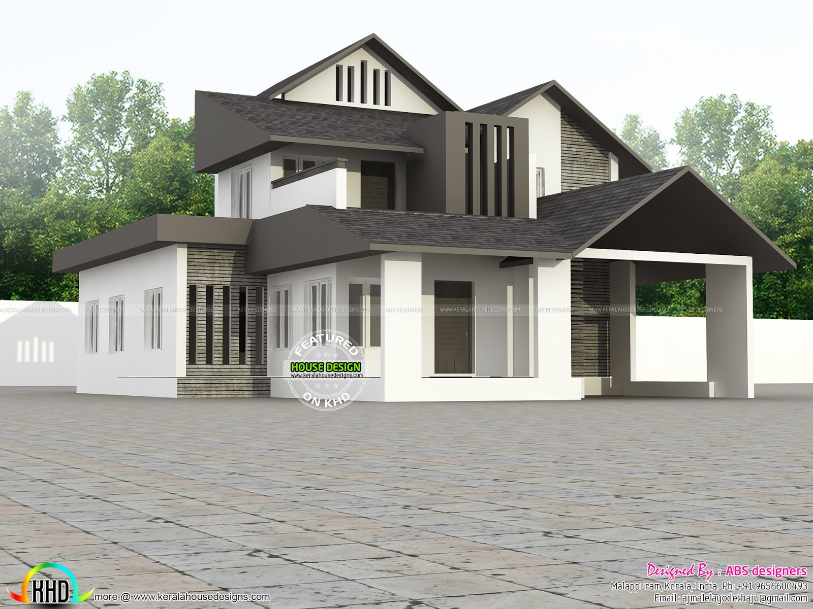 Contemporary modern 2000 sq ft home kerala home design for Home designs 2000 sq ft
