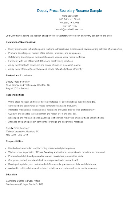 resume samples  deputy press secretary resume sample