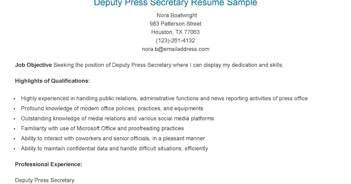 resume samples  deputy press secretary resume sample