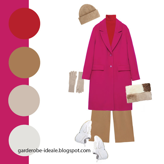 Сочетание яркого розового пальто с красной водолазкой и брюками цвета кэмел