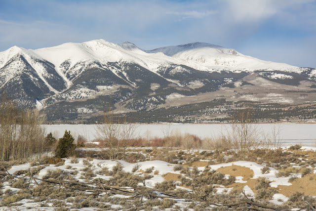 Mount Elbert and Twin Lakes in Winter near Leadville Colorado