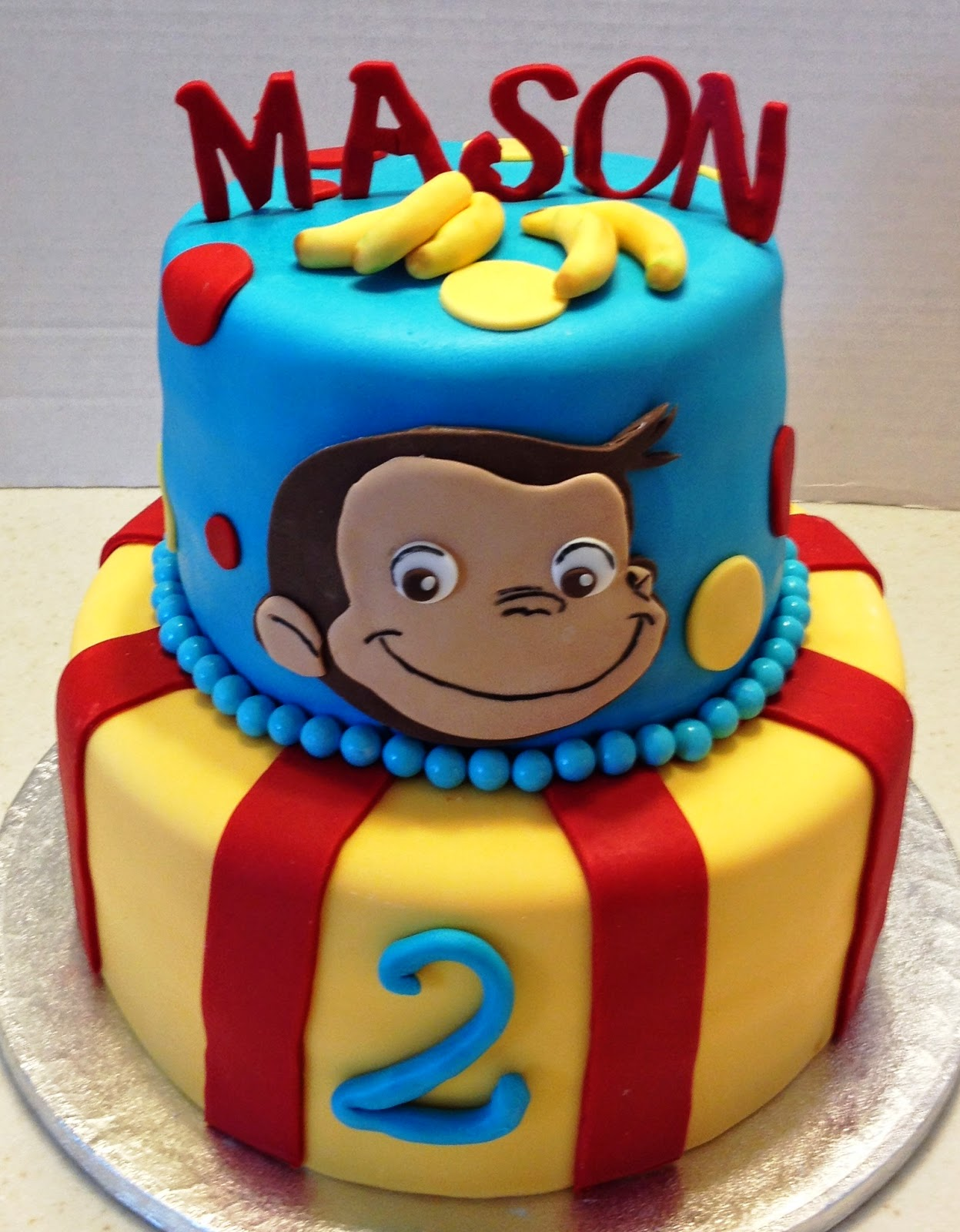 Marymel cakes a curious george 2nd birthday for Curious george cake template