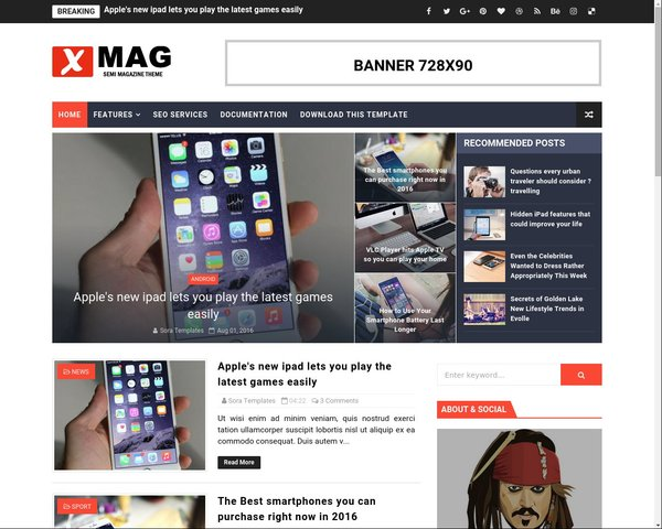 XMag Best Free Blogger Template - Template Forest