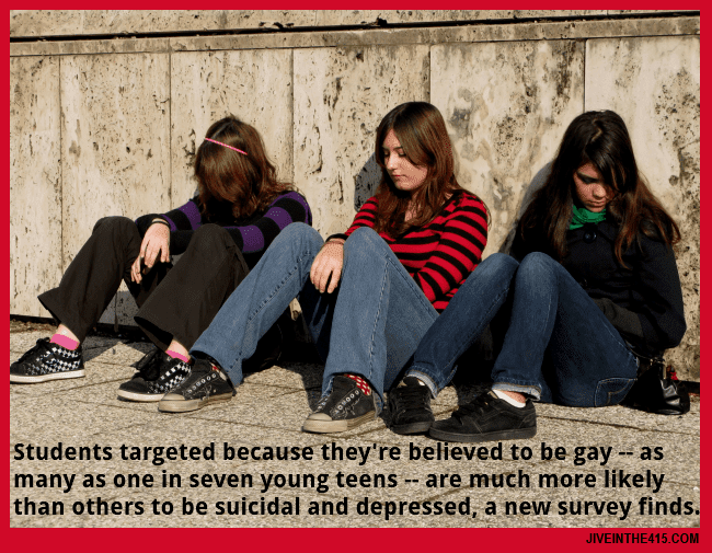 Three teenage girls --- depression and suicidal thoughts are more likely for kids victimized over sexual orientation.
