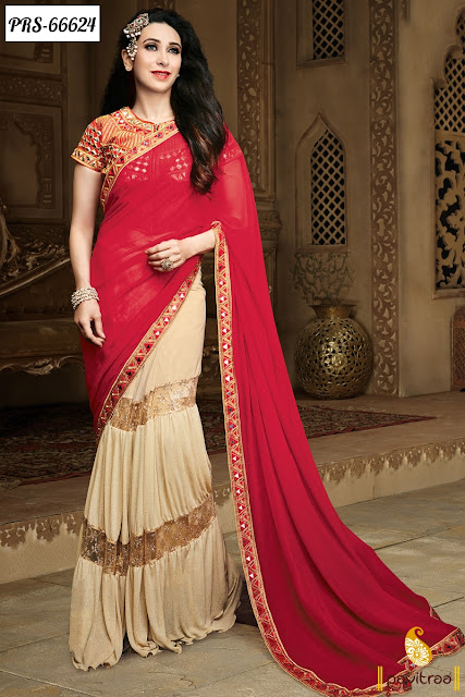 Party Wear Beige Red Color Georgette Bollywood Replica Sarees Of Karishma Kapoor For Youngsters In India