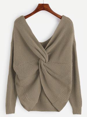 Jersey anudado con cuello en v