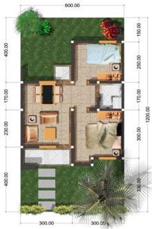 sketsa denah rumah tipe 36