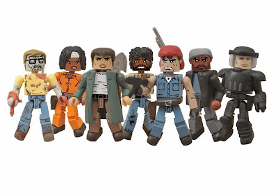 The Walking Dead Minimates Series 5 Action Figures - Geek Zombie, Prison Jumpsuit Michonne, Maggie, Survivor Morgan, Martinez, Tyreese & Riot Gear Glenn