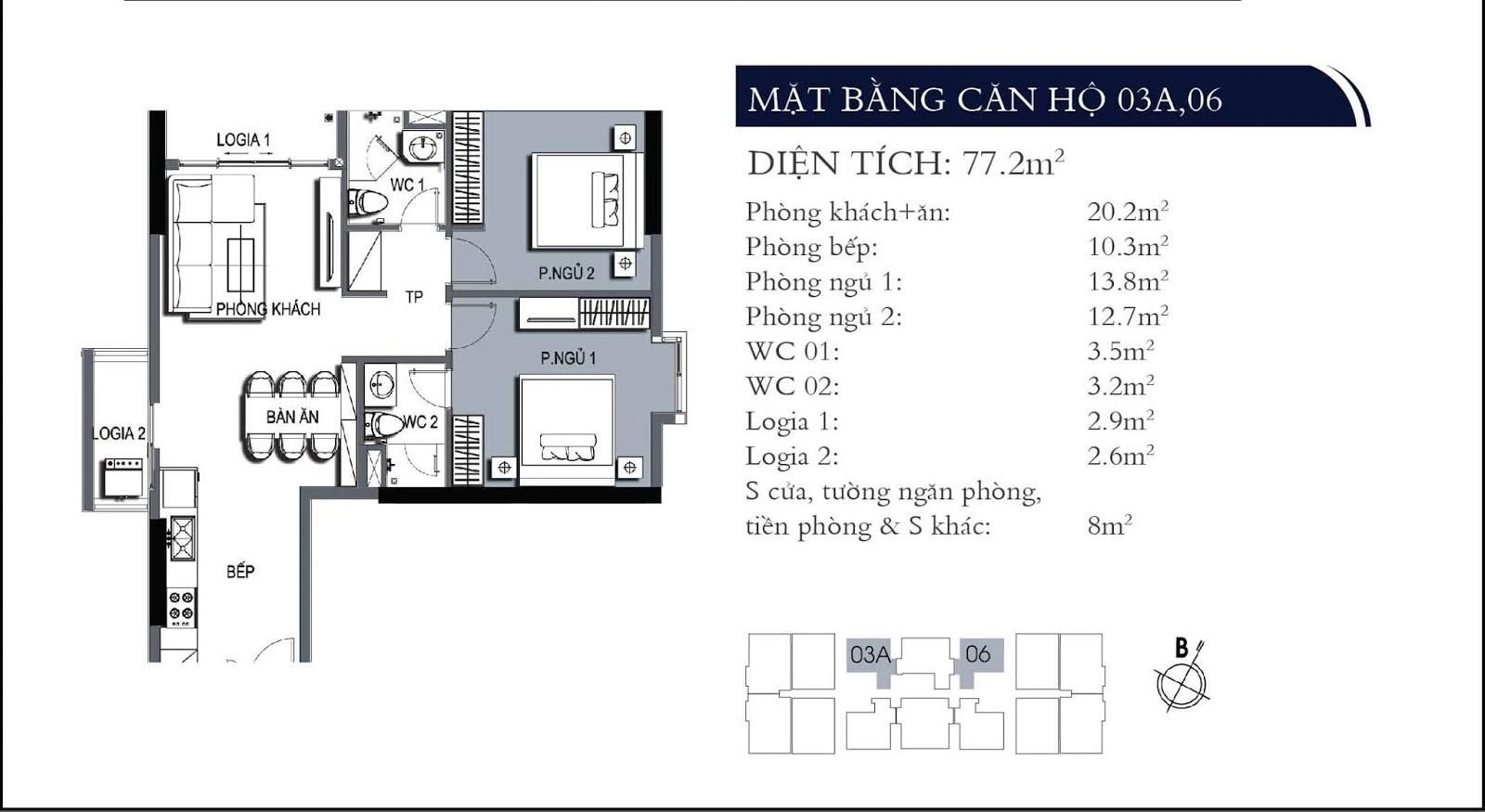 Mặt bằng căn hộ 03A và 06 dự án One 18 Ngọc Lâm