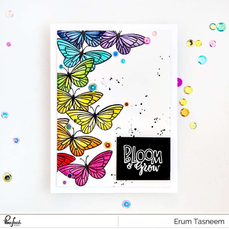 Pinkfresh Studio Bloom and Grow Stamp Set watercoloured with distress inks | Erum Tasneem | @pr0digyo