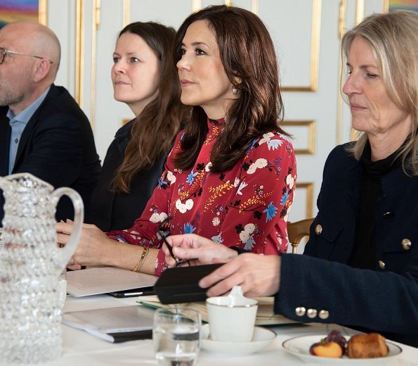Crown Princess Mary wore Erdem Lindsey floral mock-neck ruffle-sleeve top