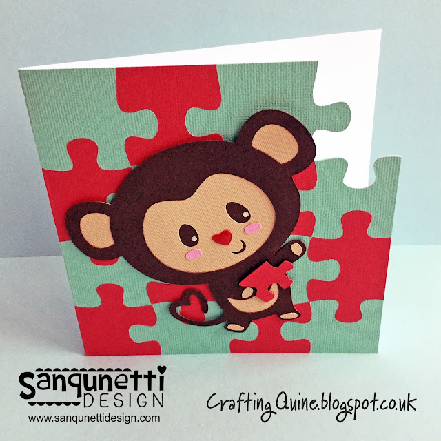Monkey Puzzle Card by janet Packer (Craftingquine.blogspot.co.uk), subtracting a puzzle piece from the card blank. SVG designs by Lori Whitlock and Sanqunetti Design.