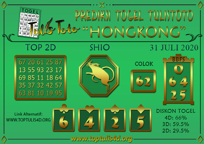 Prediksi Togel HONGKONG TULISTOTO 31 JULI 2020