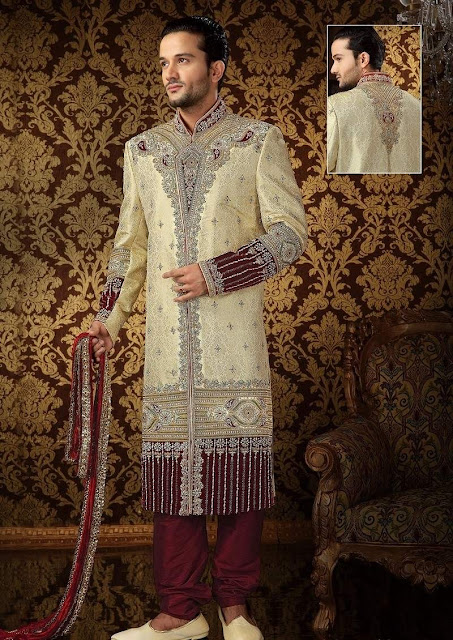 Beige & Maroon Banarsi Art Silk Sherwani With Churidar