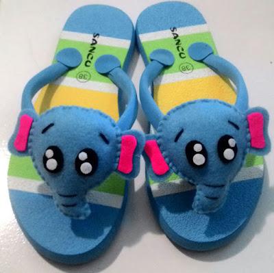 sandal sancu, Sandal Lucu Boneka Boncu Terbaru Motif Gajah Biru