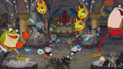 Cuphead gameplay image shows the player is fighting the boss