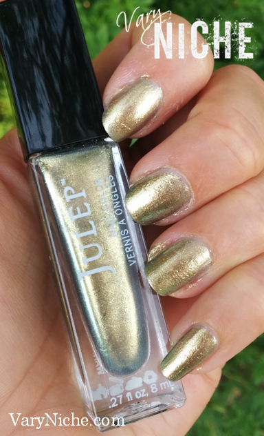 Tutorial Step 1: Finger Nails with two coats of Harrow, an iridescent gold nail color from Julep.