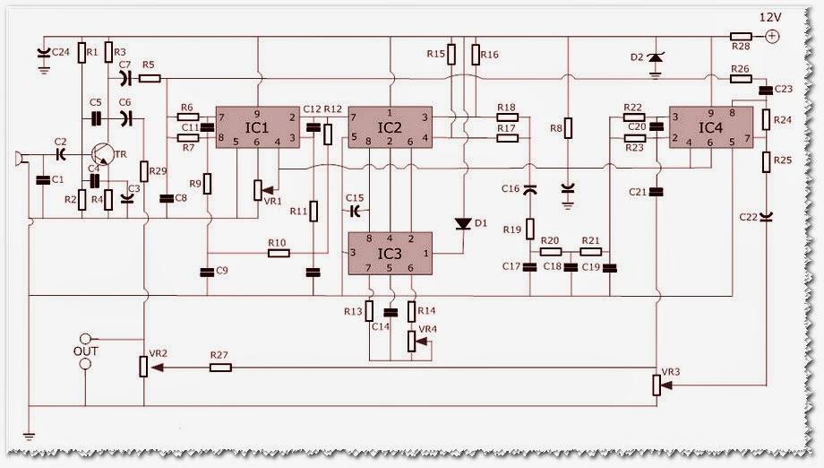 circuit diagram of 6 channel audio mixer