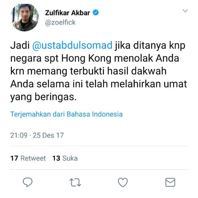Jurnalis Harian Olahraga Nasional Ini Tuding Dakwah Ustadz Somad Hasilkan Umat Beringas