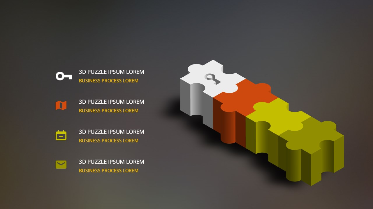 Free powerpoint templates with 3d puzzle pieces diagram for 3d flat design online
