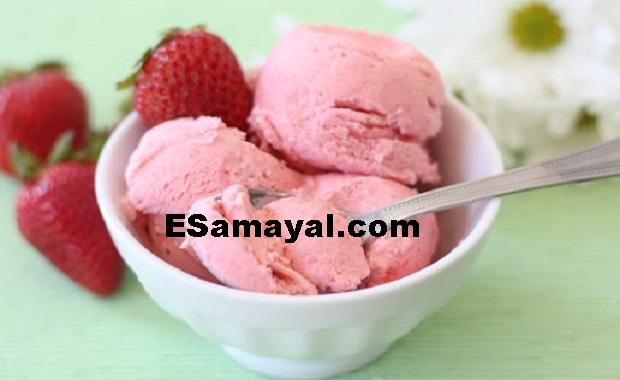 சோயா - ஸ்ட்ராபெரி ஐஸ்க்ரீம் செய்முறை   Soya - Strawberry Ice Cream Recipe !