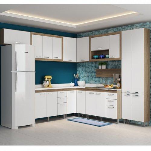 Cozinha completa modulada 9 peças Toscana Argila branco multimóveis