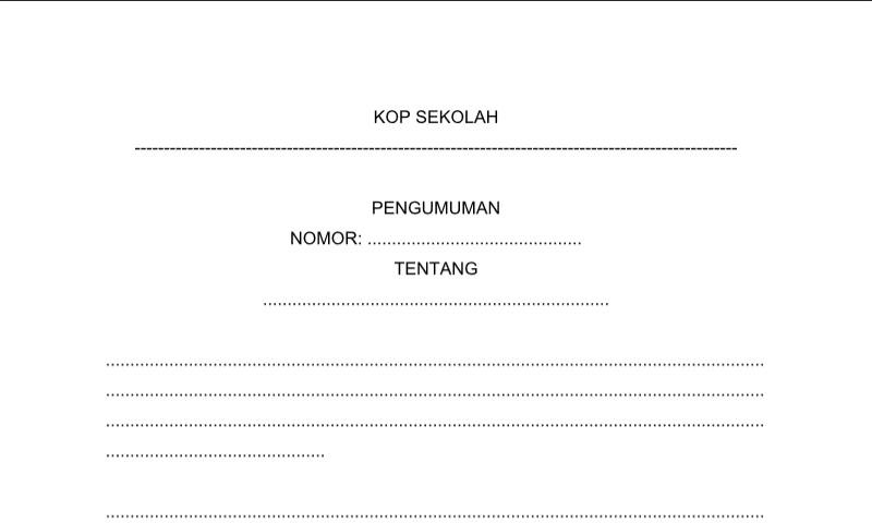 Contoh Format Bentuk Pengumuman untuk Perlengkapan Administrasi TU (Tata Usaha) Sekolah
