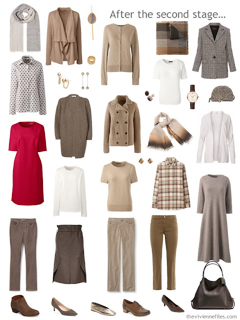 17-piece work capsule wardrobe in shades of brown with red and orange accents